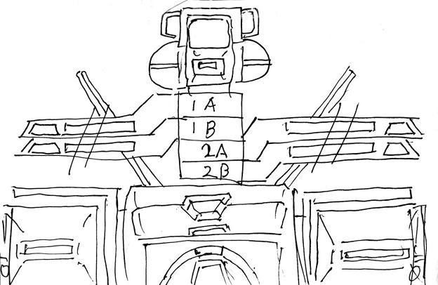 Photos: 可変戦闘機「オーロラン」 回転翼構造図〔黒線画〕