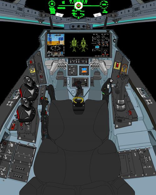 Block 45-A〔旧型・二連スロットル〕可変戦闘機「VFH-10G オーロラン」操縦席コンソール(「ダヴィンチII」遠隔操作システム展開状態)
