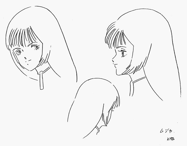 湖川友謙の真の決定稿線画「ムジカ・ノヴァ」01(左斜め/右後方/横顔左)