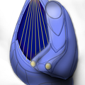 Photos: 【影付き】超時空騎団サザンクロス2020 電子弦楽器「リーヴ・フィセル」(レーザーハープ)&「演奏制御卓付き肘掛椅子」一式セット