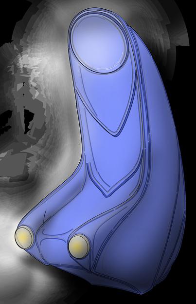 Photos: 【影付き】超時空騎団サザンクロス2020「演奏制御卓付き肘掛椅子」・電子弦楽器「リーヴ・フィセル」(レーザーハープ)専用
