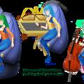 【2048 x 1280 pixels 決定版】三位一体の歌巫女:ムジカ/ムジエ/ムゼル楽団