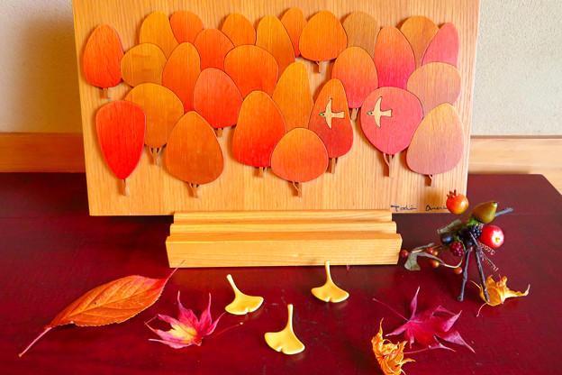 玄関の小さな秋飾り。