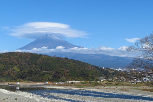 富士川と流れる雲と帽子。