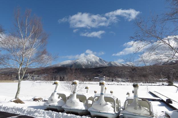白樺湖はすっかり冬模様。