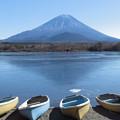 Photos: 快晴、薄氷の精進湖。