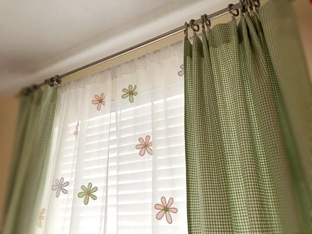 グリーンのカーテンとClip Rings