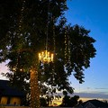 Twinkle lights and a chandelier