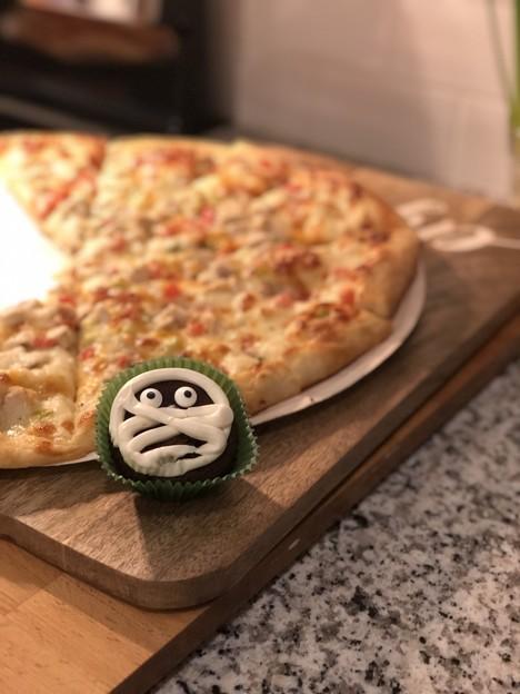 ガーリックチキンPizza&マミーカップケーキ^^