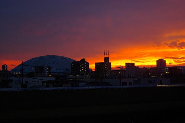 矢田川からナゴヤドームを望む