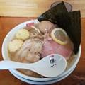 福島市の麺屋 傑心さんにて傑心の塩豚G郎をいただく ウマウマ