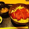 イオンモールいわき小名浜の新店 会津農家食堂さんで鳥ソースカツ丼     チキンカツなのでサッパリしてますが厚切りなので食べ応えあります 美味しゅうございました