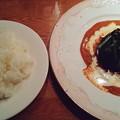 福島市のビストロミカサさんにてにんにくソースのハンバーグ ビドッキインペリアルをいただく 美味しゅうございました
