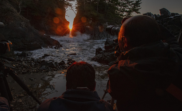 Photos: 神割崎日の出のカメラマン撮影