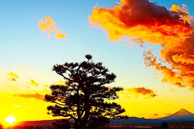 富士と夕日