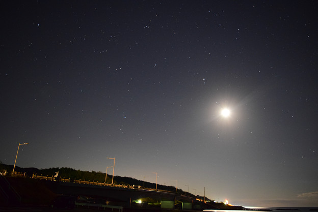 夕日ライン橋と月、火星、海王星