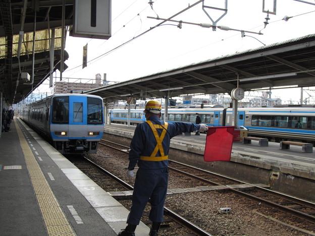松山駅に到着するTSE