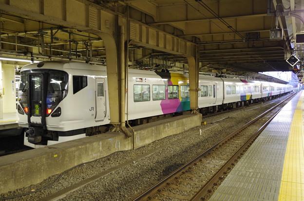 新宿駅に到着した臨時夜行快速諏訪湖花火大会号