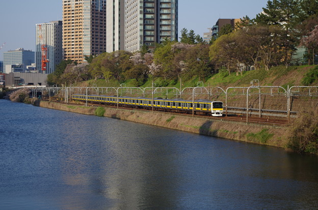 外濠沿いを走る黄色い電車