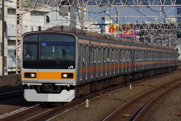 休日運転のため西荻窪駅を通過する209系快速電車