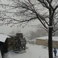 写真: 雪の露天風呂