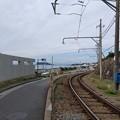 江ノ電線路より、海と江ノ島と富士山