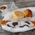 Photos: 朝食(ハムエッグマフィンとミルクパンとあんぱん)