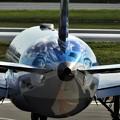 飛行機に青空