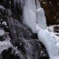 写真: 滝と氷の壁