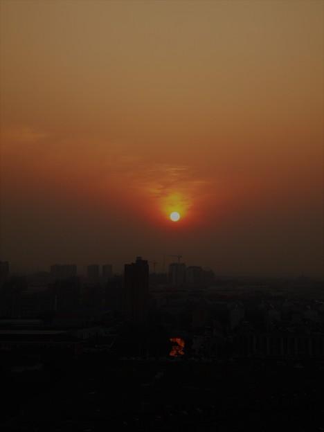 運河のある夕陽