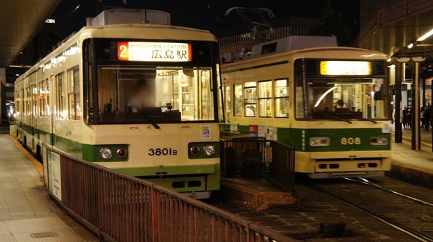 広島電鉄 3801と808