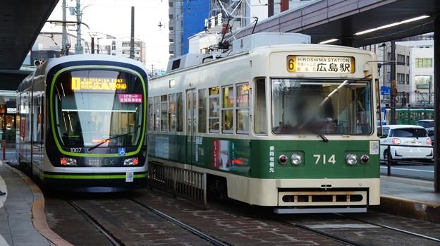 広島電鉄 1007と714