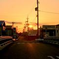 Photos: 看板の向こうに沈む夕日 - 1