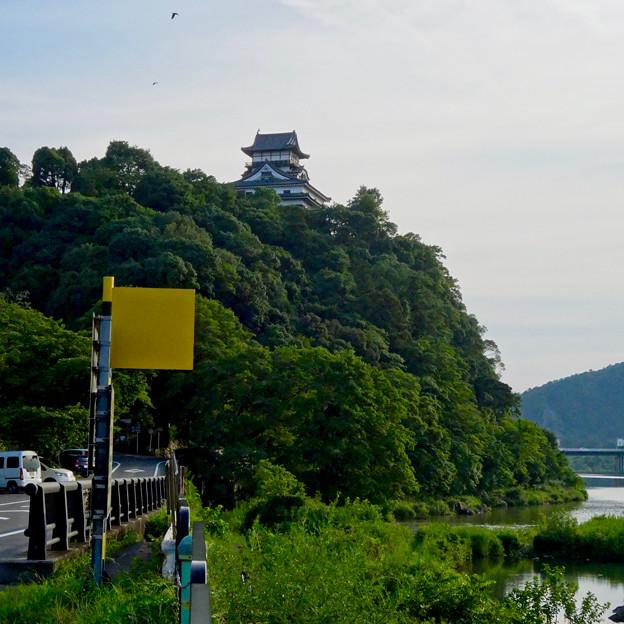 木曽川沿いから見上げた、落雷でシャチホコが壊れた犬山城(2017年7月15日) - 2