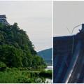 写真: 木曽川沿いから見上げた、落雷でシャチホコが壊れた犬山城(2017年7月15日) - 17
