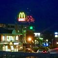 国道19号に架かる歩道橋の上から見た「春日井市民納涼まつり 2017」の花火 - 4