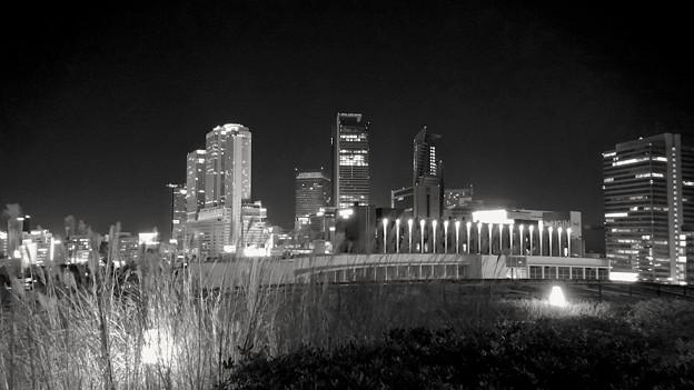 グローバルゲート最上階から撮影した夜の名駅ビル群 - 7(モノクロ)