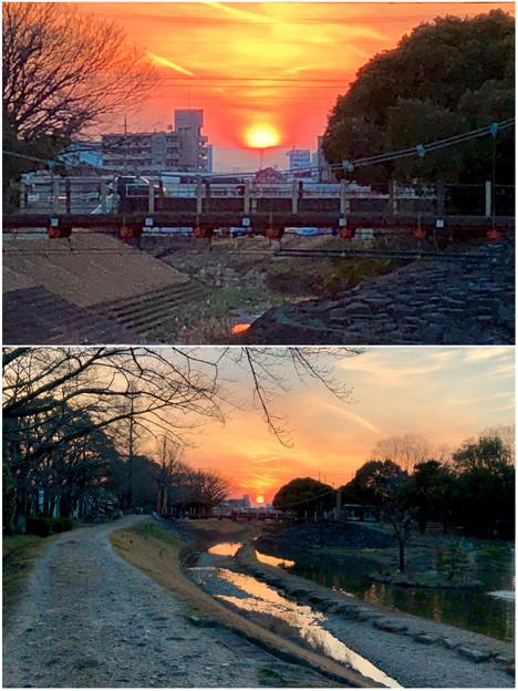 三ツ又ふれあい公園公園から見た夕日 - 4