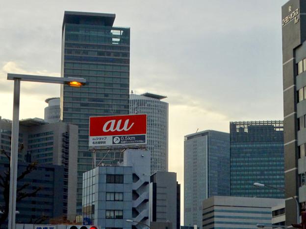 錦橋から見上げた名駅ビル群