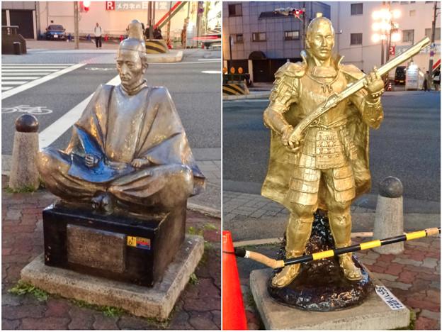 円頓寺商店街:江川線沿いに火縄銃を持った黄金の信長像と銀色の秀吉像