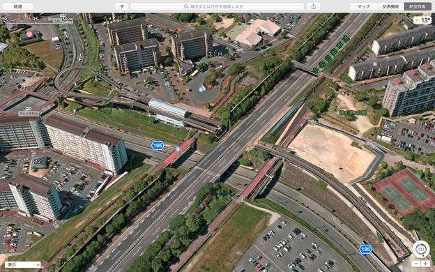 macOS High Sierraのマップアプリ:地図更新で中央道上の桃花台線高架が撤去済みに! - 1