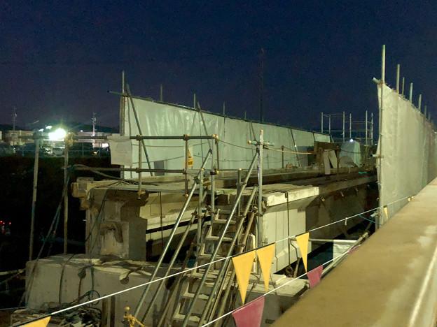 桃花台線の旧・車両基地進入高架撤去工事(2018年4月20日) - 4:コンクリ部分はほとんど撤去済み