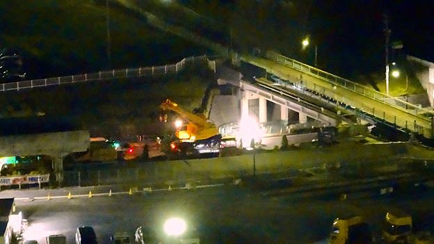 桃花台線の旧車両基地進入高架撤去工事(2018年5月15日) - 8:上から見下ろした工事現場