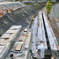 桃花台線の旧車両基地進入高架撤去工事(2018年5月20日):撤去された高架と元接続部 - 2