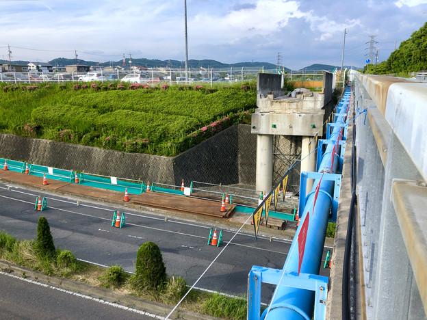 桃花台線の旧車両基地進入高架撤去工事(2018年5月20日):高架の元接続部 - 2