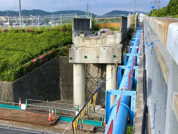 桃花台線の旧車両基地進入高架撤去工事(2018年5月20日):高架の元接続部 - 3