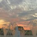 写真: 落合公園から見た夕焼け - 4:夕焼けと噴水