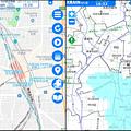 写真: 国交省「川の防災情報」ページの英語・日本語版比較 - 2:雨雲レーダー(地図最大拡大、名古屋駅付近)