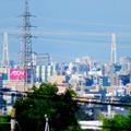 写真: 桃花台から見えた名港中央大橋(名港トリトン)と中部電力千代田ビル - 2