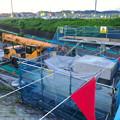 写真: 桃花台線の旧車両基地進入高架撤去工事(2018年6月13日):片方の橋脚の解体開始 - 1